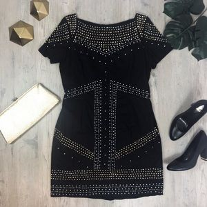 French Connection Black Gold Silver Beaded Dress